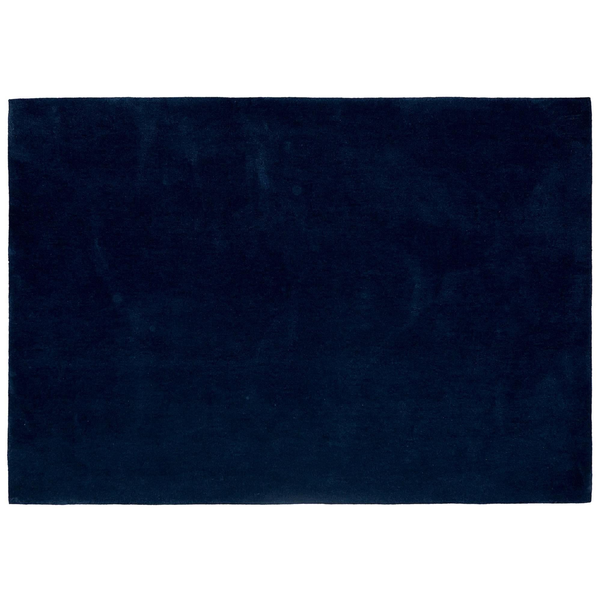 'Bleu Pinton' Hand-Tufted Area Rug in Midnight Blue by Pinton