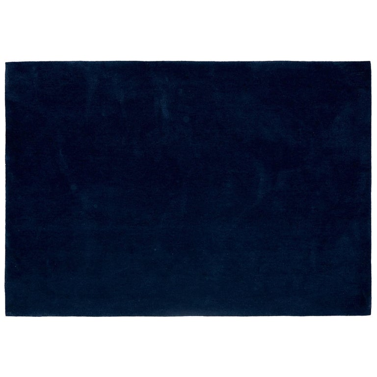 'Bleu Pinton' Hand-Tufted Area Rug in Midnight Blue by Pinton For Sale