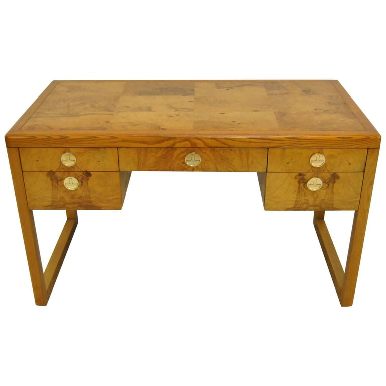 Mid Century Modern Burl Wood Desk By Sligh Furniture