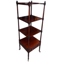 English Regency Mahogany Four-Tiered One Drawer Etagere , Circa 1810