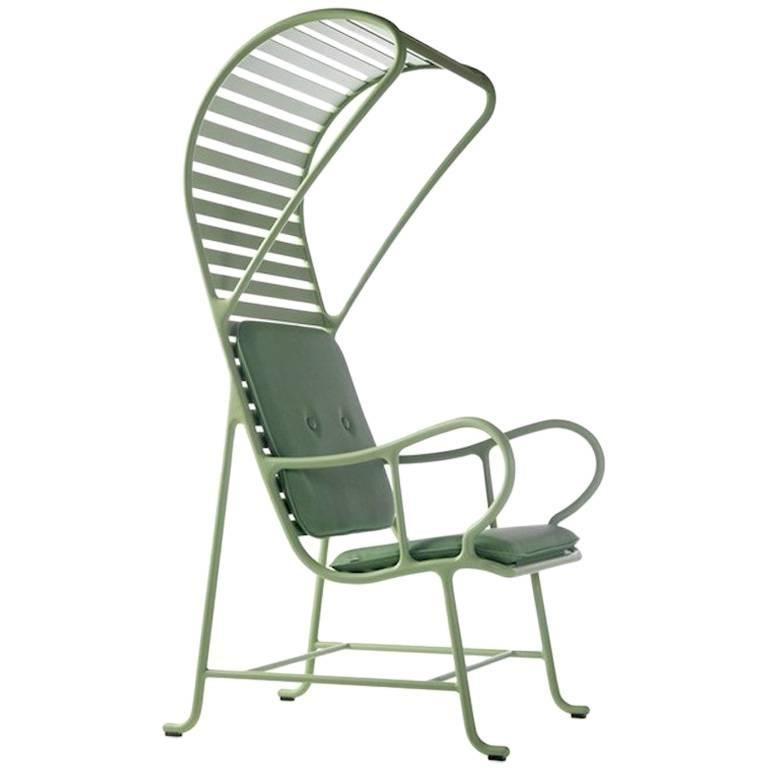 BD Barcelona Gardenia Outdoor Armchair with Pergola in Green, White or Grey For Sale