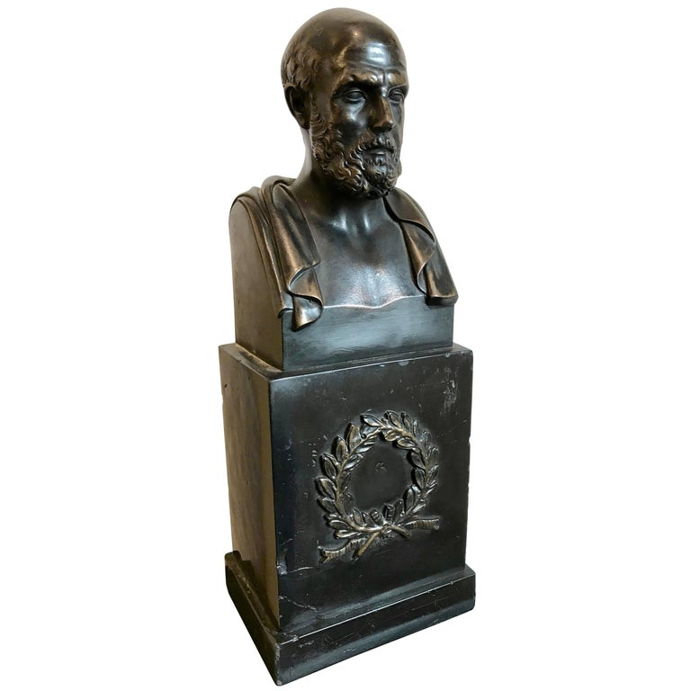 "Bronze Bust of Hippocrates ""The Father of Medicine"" For Sale"