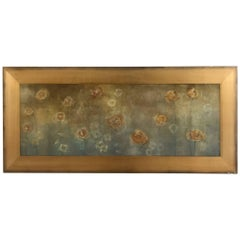 Magical Gold Silver Leaf and Acrylic Large Horizontal Painting of Dandelions