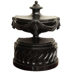 19th Century English, Neoclassical, Carved and Ebonised Wooden Urn