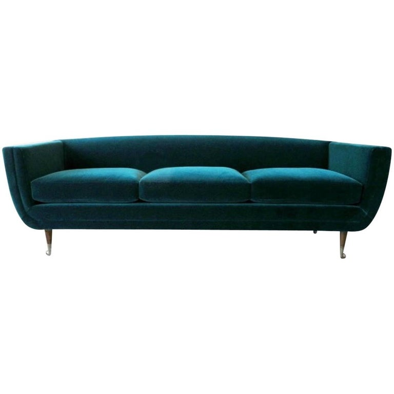 Custom Upholstered Carlo Velvet Sofa from William Collins Collection For Sale