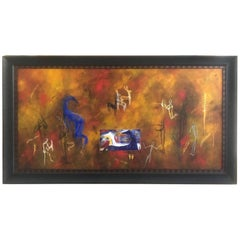 Striking and Large Horizontal Contemporary Painting