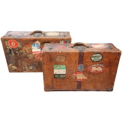 Two Vintage Louis Vuitton Leather Suitcases