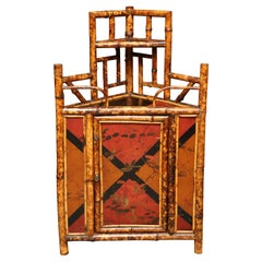 19th Century English Bamboo Hanging Corner Cabinet