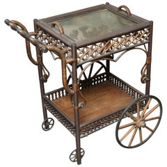 Superior Antique Wicker Bar / Tea Cart