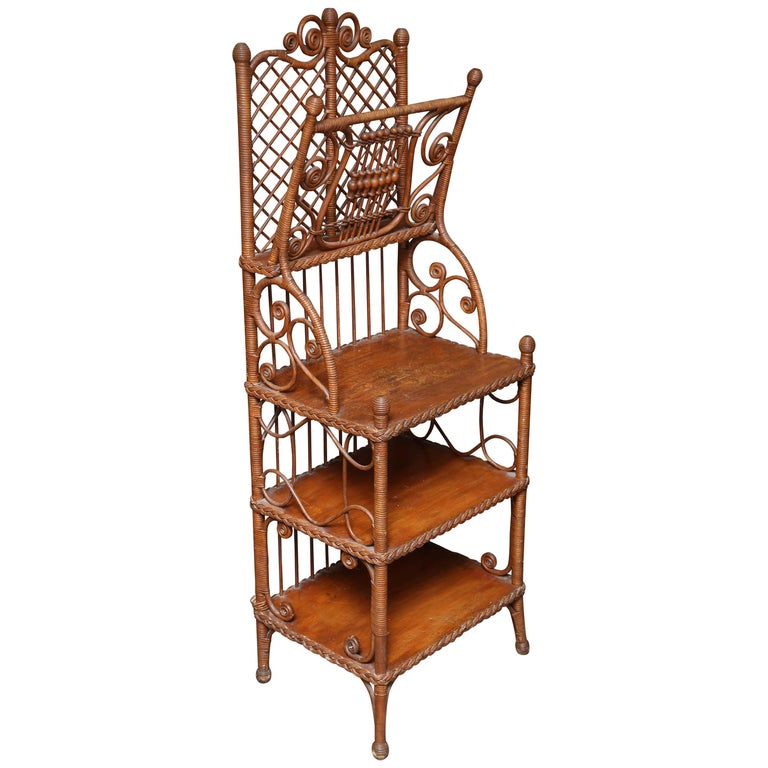 Whimsical 19th Century Wicker Music / Book Stand For Sale