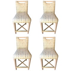 Set of Four Sophisticated Wood and Upholstered Counter Chairs