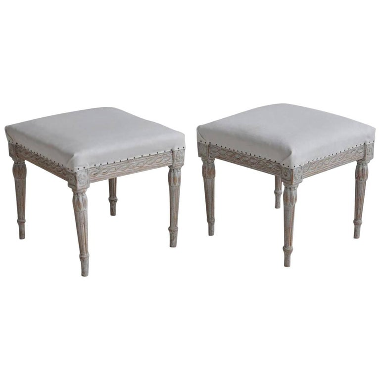 18th Century Pair of Swedish Gustavian Period Foot Stools or Benches