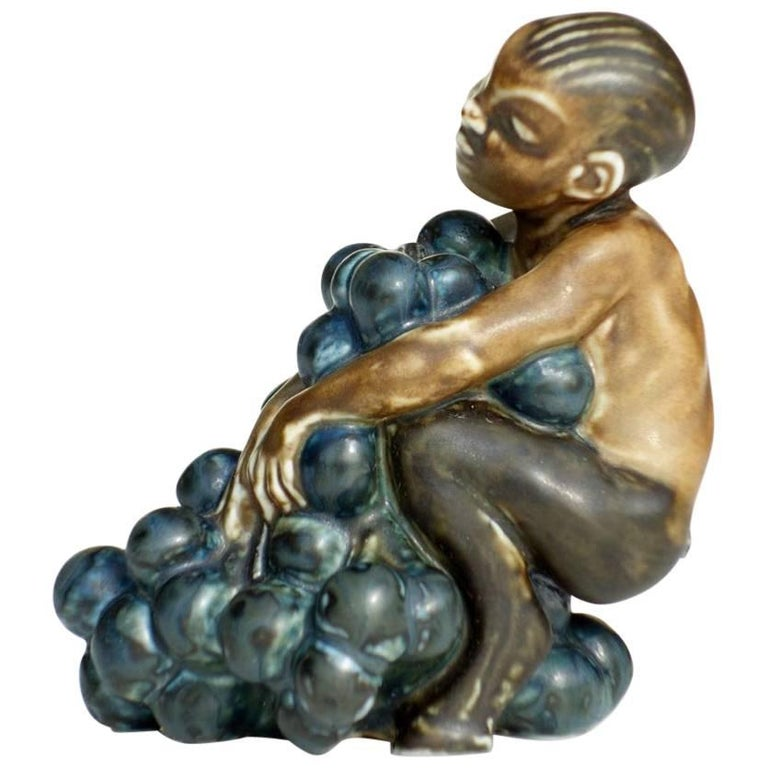 Kai Nielsen Bing & Grondahl Denmark Art Deco Stoneware Faun with Grape