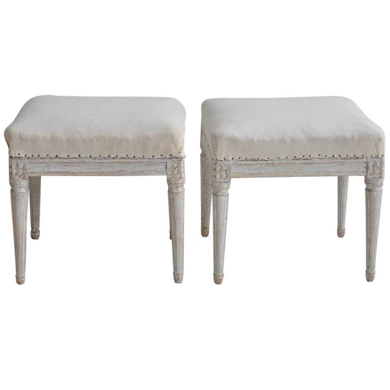19th Century Pair of Swedish Gustavian Period Foot Stools or Benches