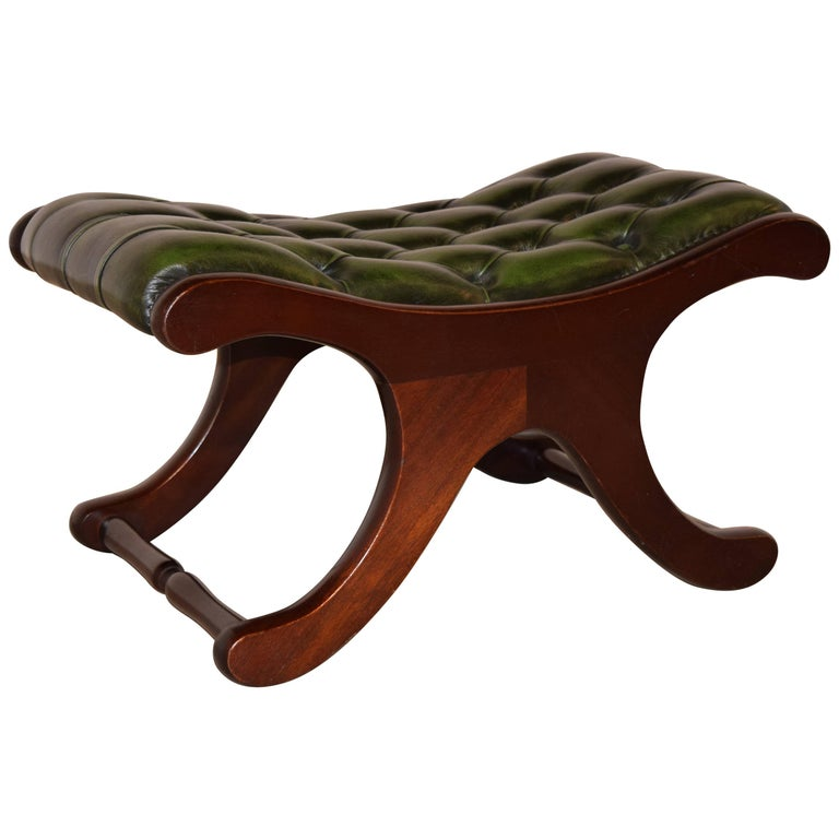 Chesterfield Leather Stool, circa 1920