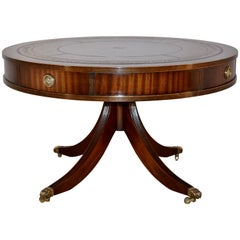 Mahogany Drum Coffee Table with Leather Top
