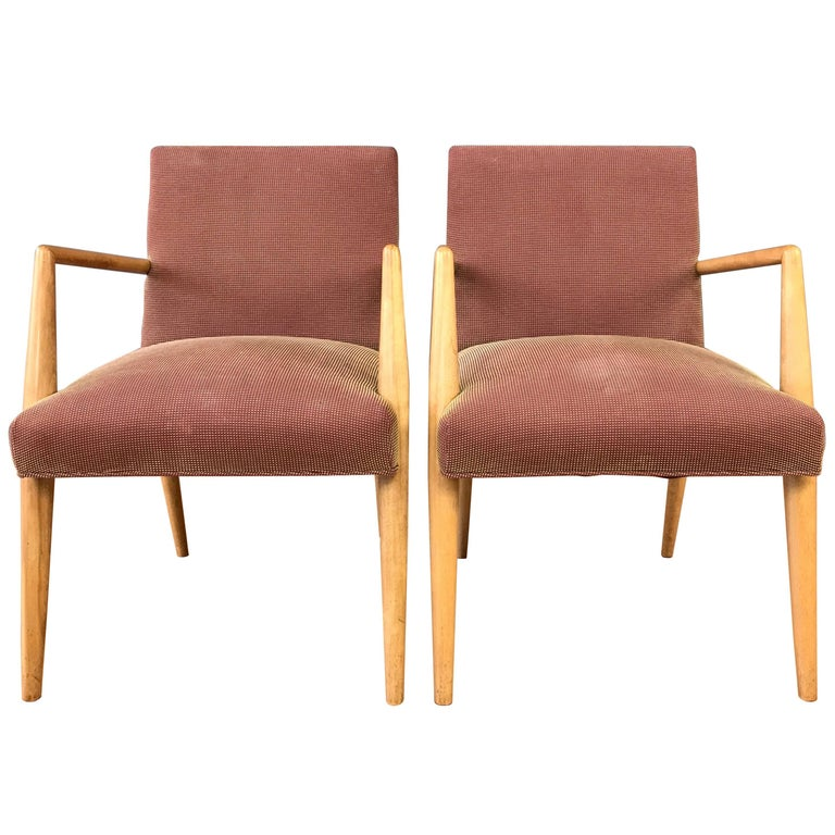 Pair of T.H. Robsjohn-Gibbings for Widdicomb Model 1686 Maple Dining Chairs