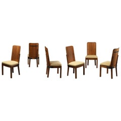 "Axel Einar Hjorth Set of Six ""Lovö"" Dining Chairs, Pine, Cast Iron, Fabric, 1932"