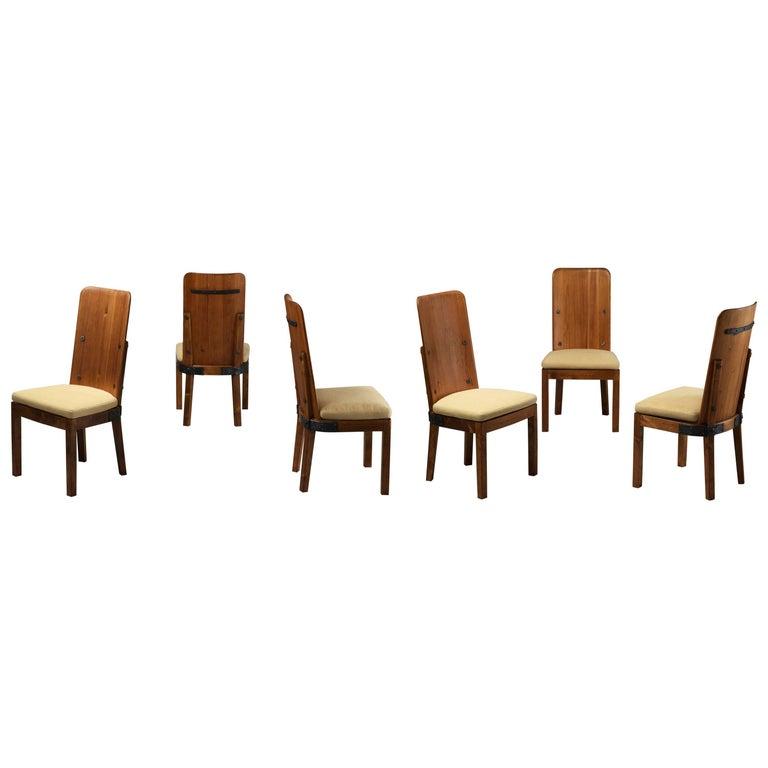 "Axel Einar Hjorth Set of Six ""Lovö"" Dining Chairs, Pine, Cast Iron, Fabric, 1932"