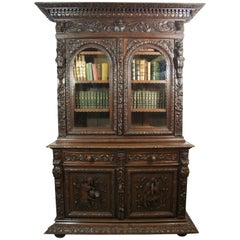 Mid-19th Century Black Forest Carved Oak Bookcase