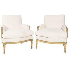 Pair of Louis XVI Bergere Chairs, circa 1930