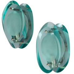 Max Ingrand, Wall Lamps / Sconces Nickel-Plated Brass, Blue Crystal Glass, 1950s