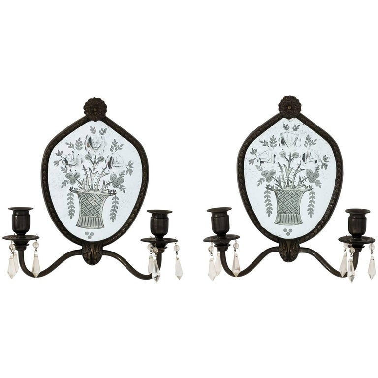 Pair of English Mirrored Sconces