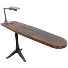Industrial Era Cantilevered Work Table with Avant Garde Inspection Lamp