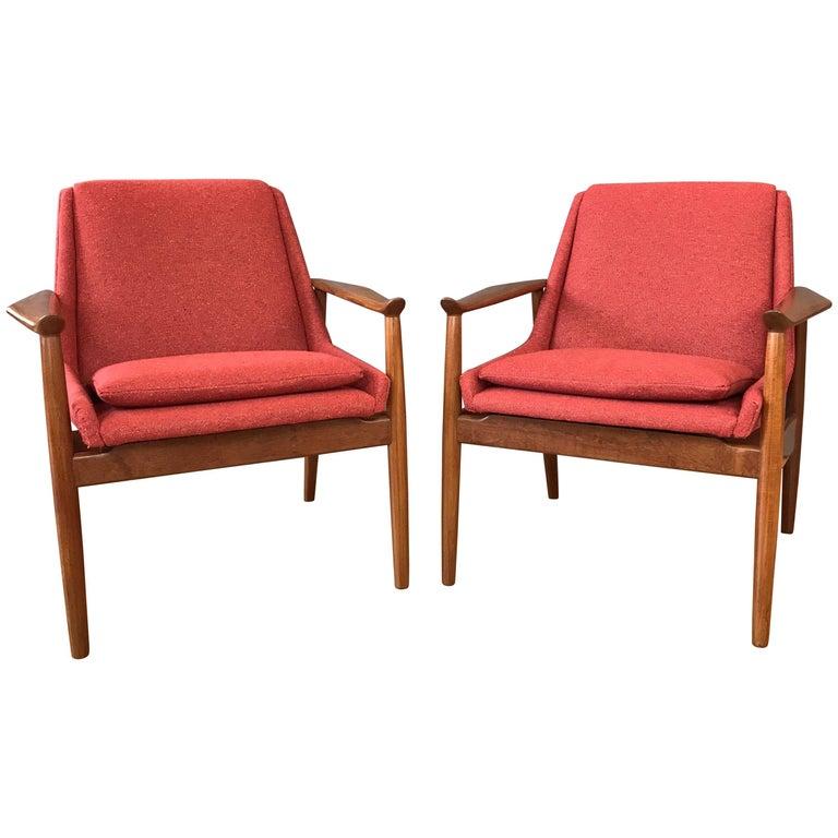 Pair of Arne Vodder for Slagelse No. 810 Teak Lounge Chairs