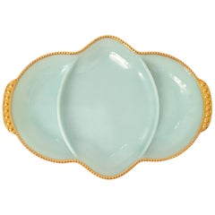 Vintage Robins Egg Blue and 22-Karat Gold Glass Divided Dish