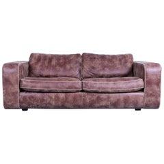 Machalke Valentino Brown Leather Sofa Three-Seat Couch