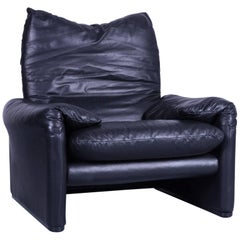 Cassina Maralunga Armchair Chair Leather Black One Seat Function