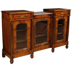 English Sideboard in Inlaid Burl Walnut, Rosewood, Maple with Marble Top