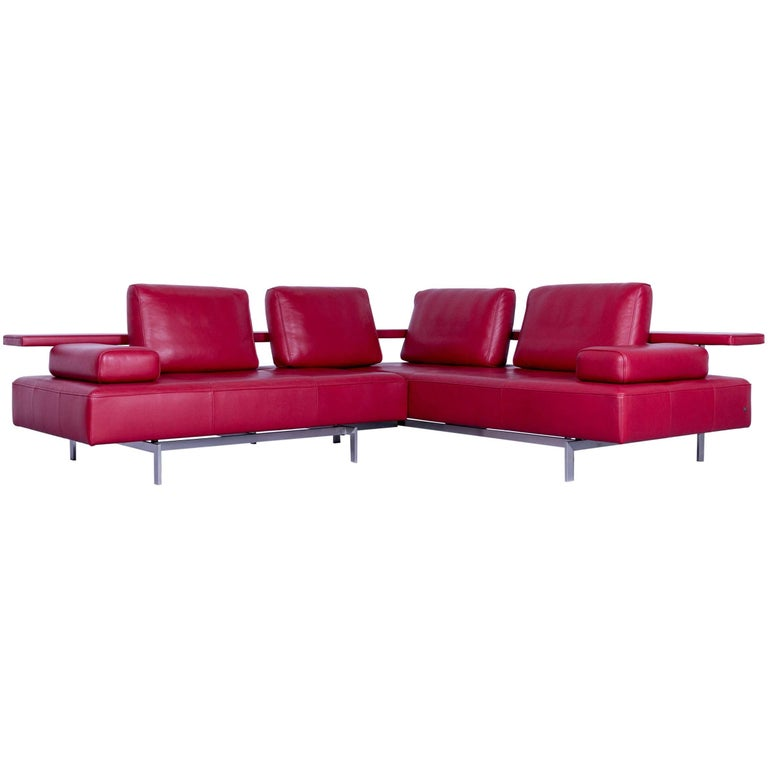 Rolf Benz Dono Designer Corner Sofa Red Leather Couch Modern