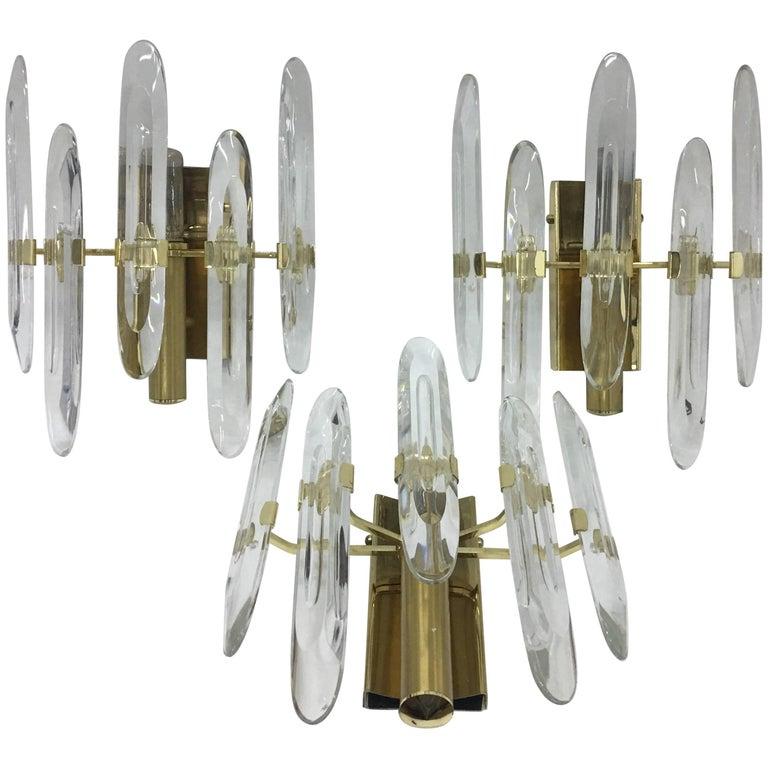 Gaetano Sciolari Mid-century Modern Italian set of three brass wall sconces 1965