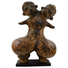 Large Head Woman Glazed Stoneware Figure, Pre-Columbian Tlatilco Style, 1900s