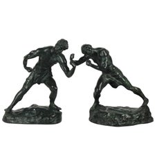 19th Century Bronze Pair of Two Boxing Figures, Signed by Jef Lambeaux
