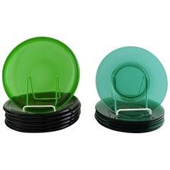 12 Plates in Green Art Glass, Josef Frank, Reijmyre / Gullaskruf