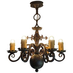 Gothic Revival Wrought Iron Medieval Look and Castle-Like Chandelier / Pendant