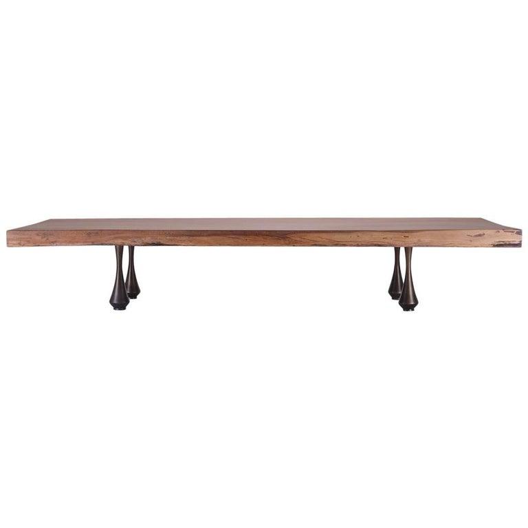 Bespoke Low Table, Single Slab of Antique Hardwood, by P. Tendercool, in Stock