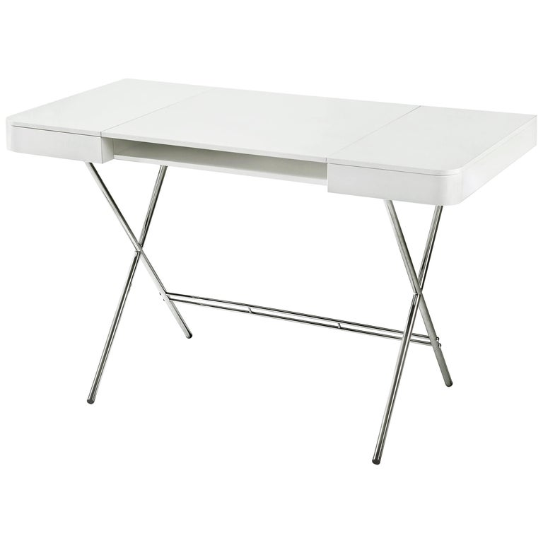 Contemporary Cosimo Desk by Marco Zanuso Jr. with White Mat Lacquered Top For Sale