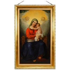 Italian Religious Painting Virgin with Child Oil on Canvas from 19th Century