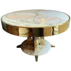 Late 20th Century Space Age Round Marble Table with Brass Pedestal and Inlays