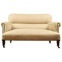 1930s Small French Linen Sofa