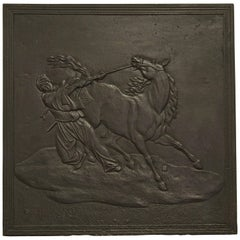 Fireback Displaying a Man Taming a Horse, 19th Century