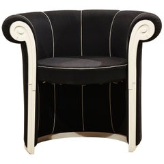 "Paolo Portoghesi Black Fabric and White Wood Italian ""Liuto"" Armchair, 1970s"