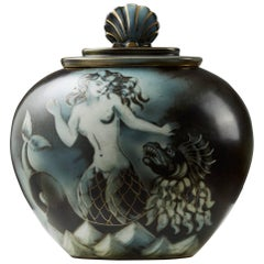 Lidded Urn Flambé Designed by Gunnar Nylund for Rörstrand, Sweden, 1940s