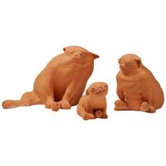 "Sculpture Group ""Pug Family"" Designed by Sonja Petterson, Sweden, 1985"
