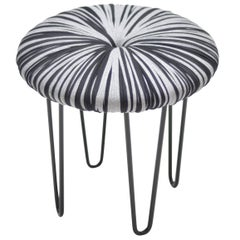 "Contemporary ""Donut"" Stool or Seat Upholstered with Graphic Pompom Design"