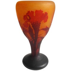 French Art Nouveau Daum Cameo Glass Cockscomb Vase 1900